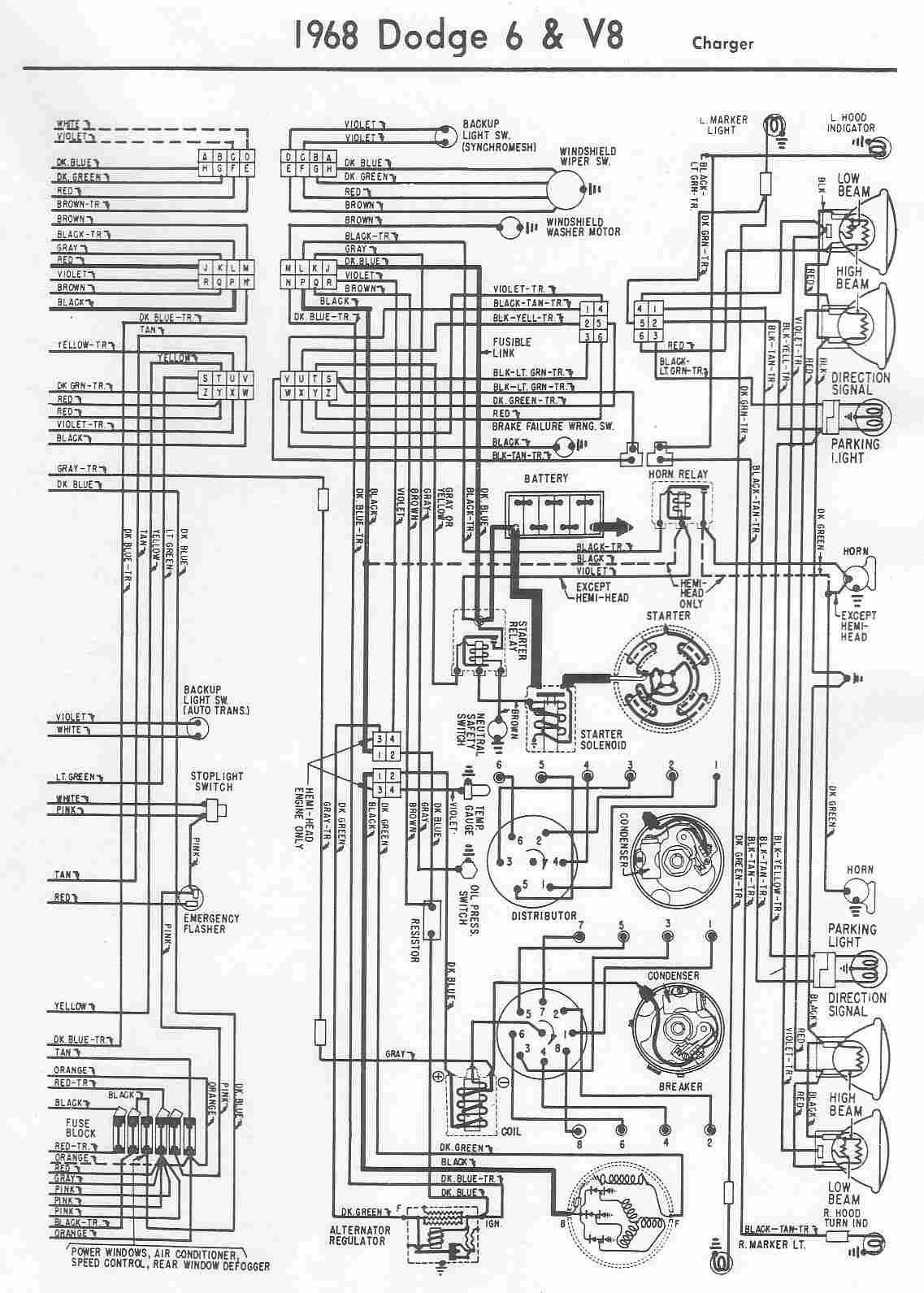 charger electrical wiring diagram of 1968 dodge 6 and v8?t=1508404771 dodge car manuals, wiring diagrams pdf & fault codes Multi Speed Blower Motor Wiring at panicattacktreatment.co