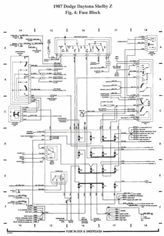 rear compartment wiring diagram of 1987 dodge daytona shelby z 1992 dodge dakota blower motor wiring diagram dodge wiring 2002 Dodge Dakota Wiring Diagram at gsmx.co