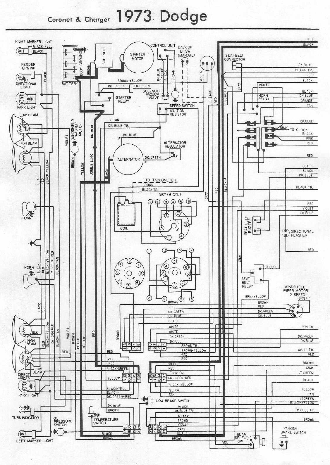 Electrical Wiring Diagram Of Dodge Coro  And Charger on diagrams for 1973 charger