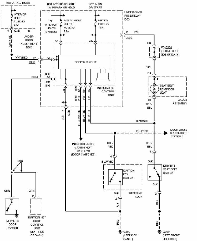 warning system wiring circuit diagram of 1997 honda cr v honda crv wiring diagram honda wiring diagrams for diy car repairs Honda S2000 Antenna Boost at virtualis.co