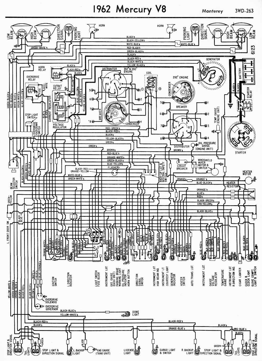 1962 Ford Galaxie Wiring Diagram Schematic Diagrams 1951 Color Mercury Zephyr 1965 Mustang 1950