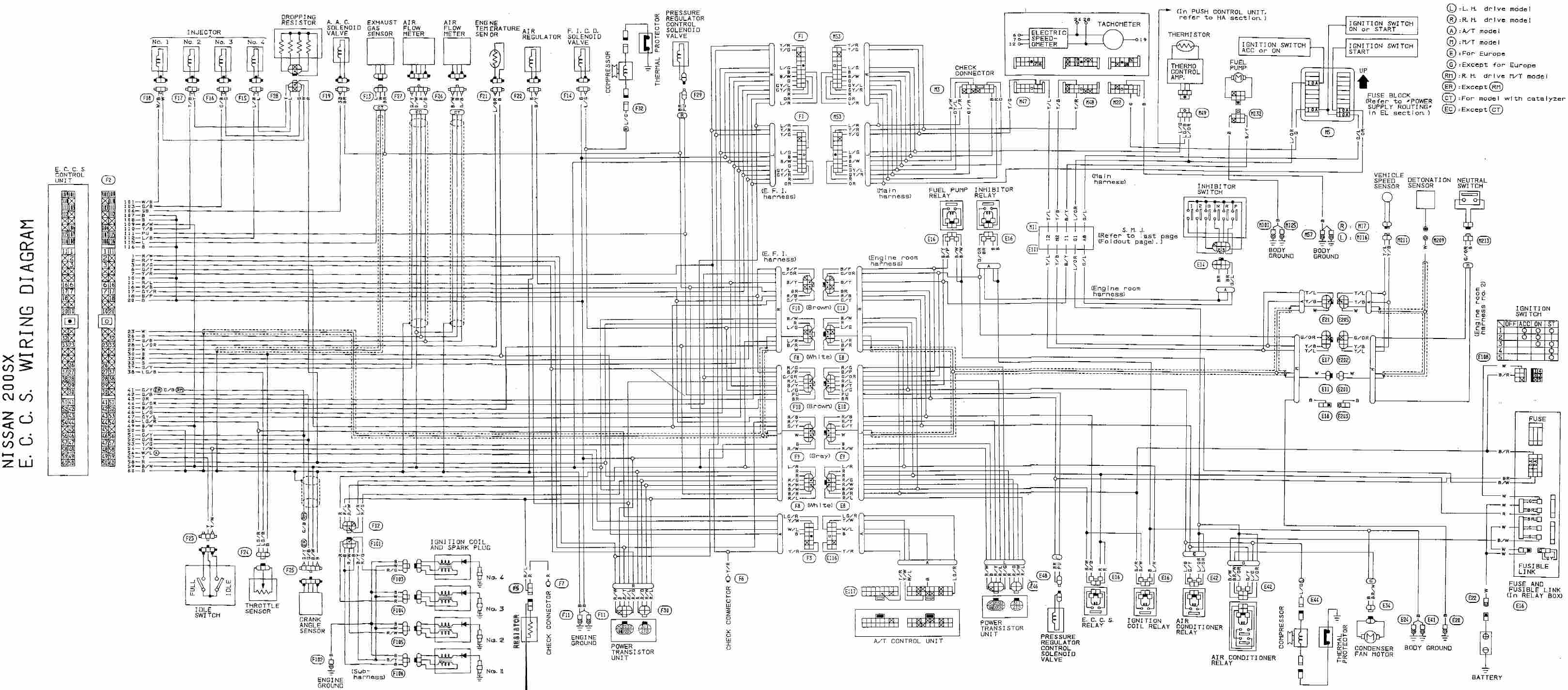 complete eccs wiring diagram of nissan 200x?t\\\=1508500919 1992 nissan 240sx wiring diagram 1992 nissan 240sx engine \u2022 wiring nissan 240sx s13 chassis wiring diagram at crackthecode.co