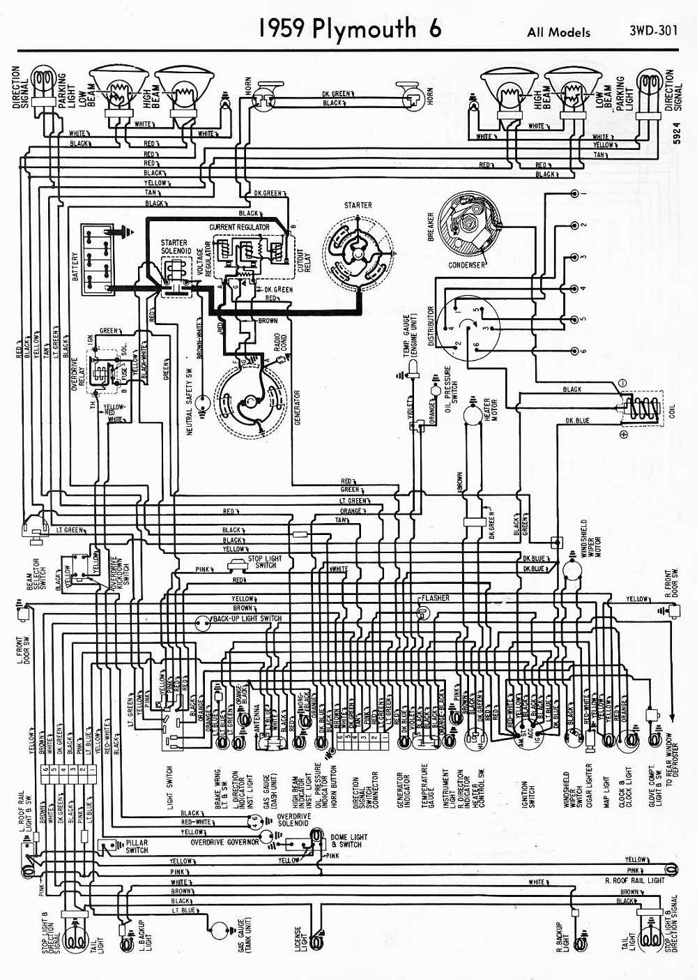 1951 Plymouth Wiring Diagram Free For You Ford 1953 Willys Wagon Diagrams Dash Cluster