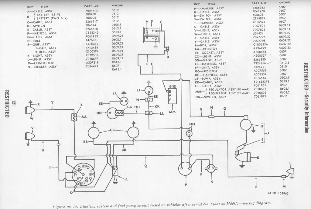 late lighting and fuel wiring diagram for studebaker m29 m29c cargo carrier and amphibian weasel studebaker wiring diagram diagram wiring diagrams for diy car studebaker wiring harness at eliteediting.co