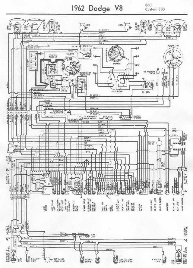 electrical-wiring-diagram-of-1962-dodge-v8-880-and-custom-880  Dodge D Wiring Diagram on 1968 dodge d100 wiring diagram, 1969 dodge d100 wiring diagram, 1970 dodge d100 wiring diagram,