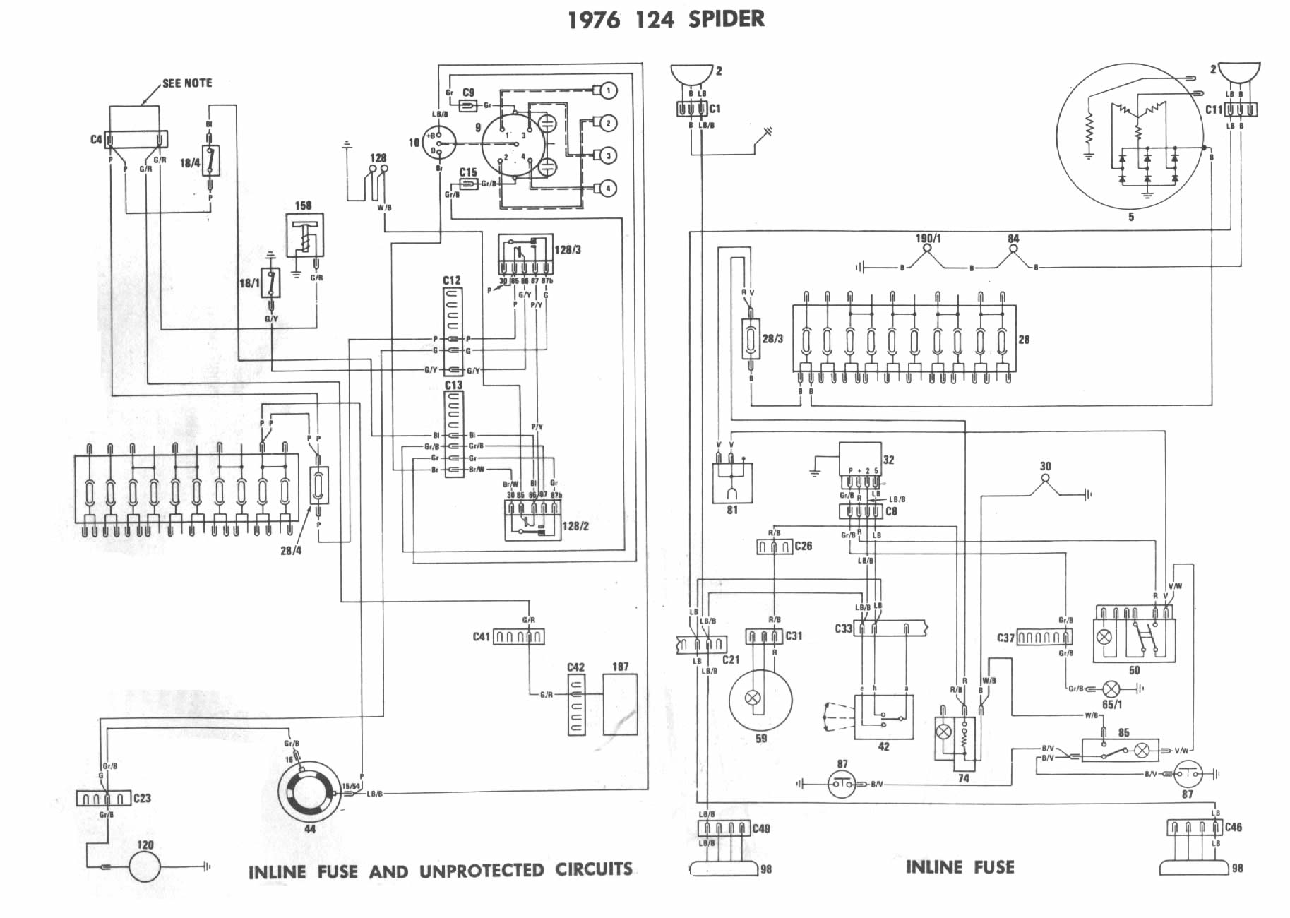 fiat spider 124 wiring diagram manual fiat 124 parts