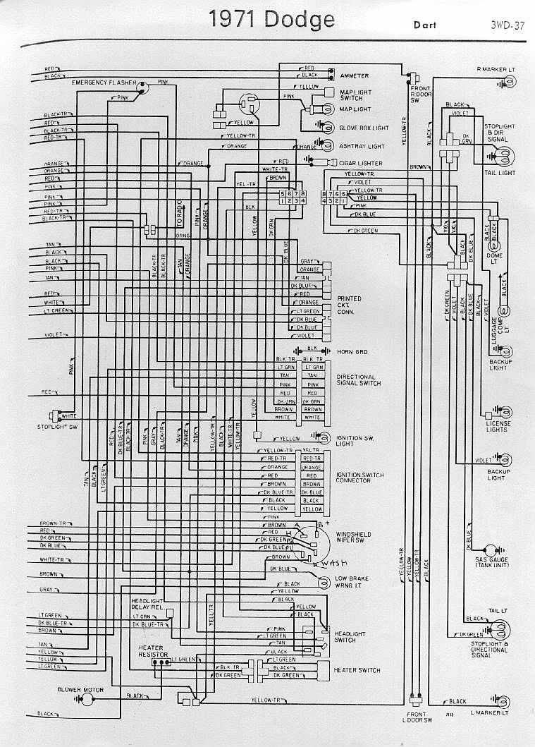 Dodge Car Manuals Wiring Diagrams Pdf Fault Codes 1992 Polaris Wire Diagram Schematic Interior Electrical Of 1971 Dart