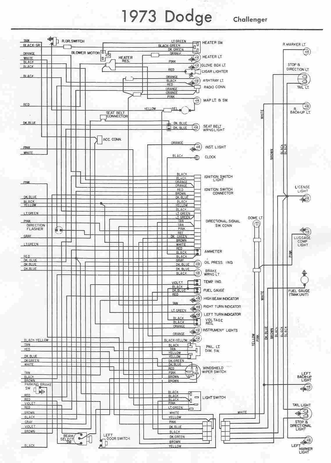 Dodge Car Manuals Wiring Diagrams Pdf Fault Codes 2009 Challenger Fuse Box Diagram Electrical Of 1973