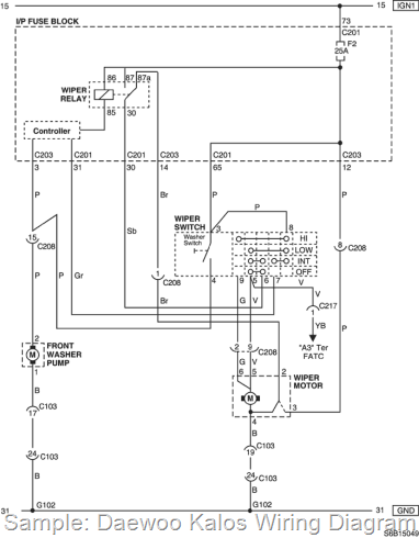 DAEWOO - Car PDF Manual, Wiring Diagram & Fault Codes DTC   Chevrolet Kalos Wiring Diagram      automotive-manuals.net